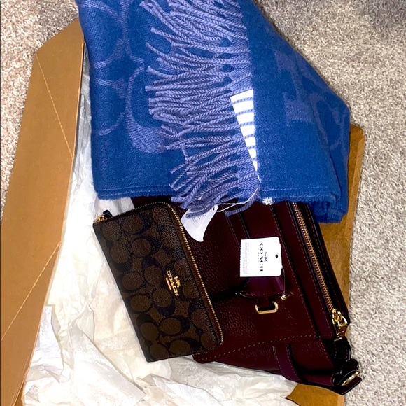 Coach wallet, coach purse, & cashmere coach scarf.